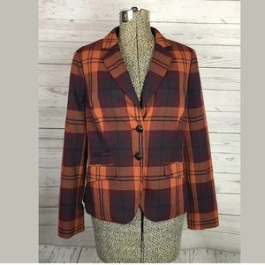 The limited plaid blazer size medium orange
